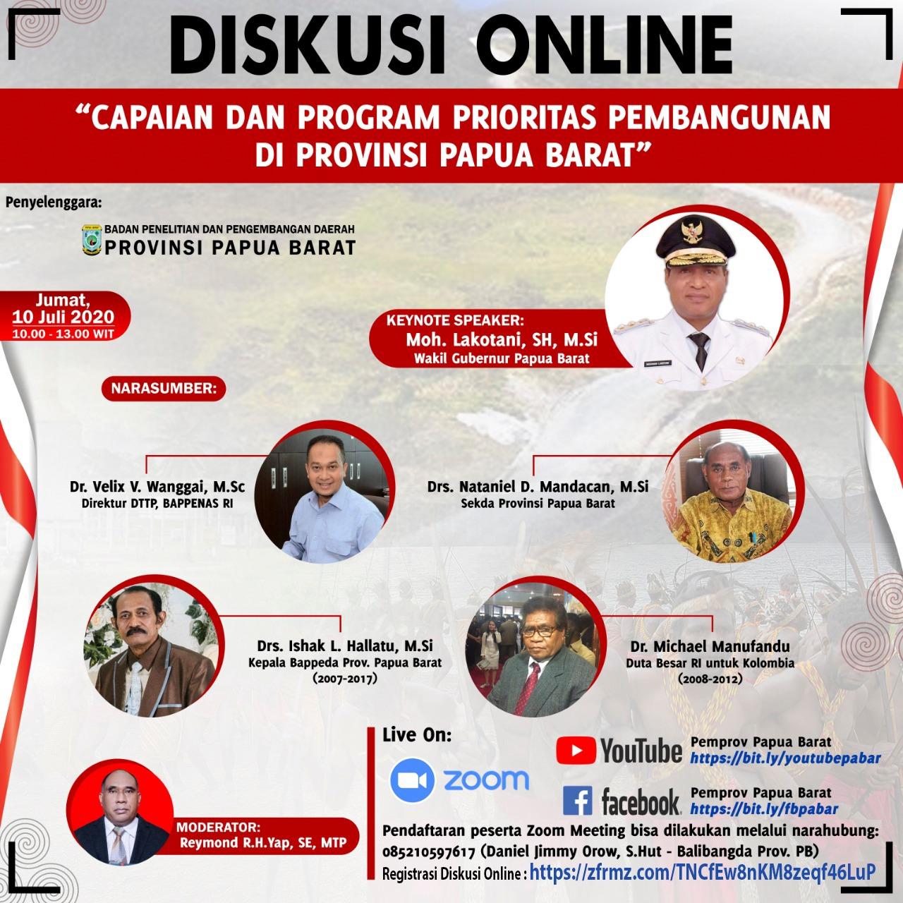 Diskusi Online Capaian dan Program Prioritas Pembangunan Di Provinsi Papua Barat