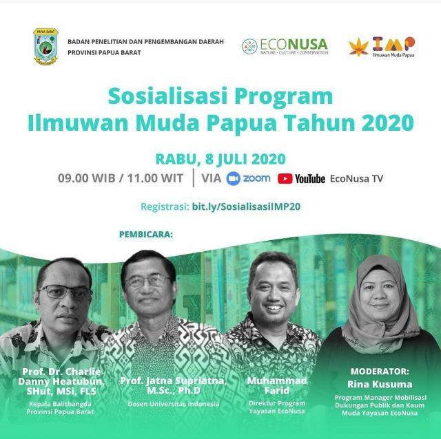 WEBINAR SOSIALISASI PROGRAM ILMUWAN MUDA PAPUA TAHUN 2020
