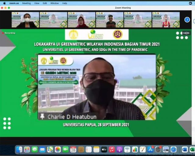 Kepala Balitbangda Papua Barat Mewakili Pemprov Papua Barat Dalam Lokakarya UI Greenmetric, And SDGs In The Time of Pandemic Perguruan Tinggi Se-Indonesia Timur